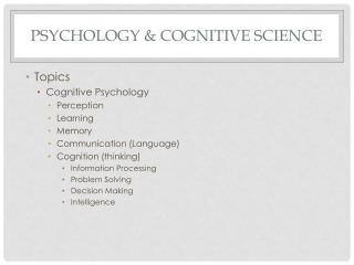 Psychology & Cognitive Science
