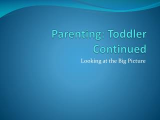 Parenting: Toddler Continued