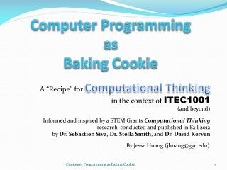 Computer Programming  as  Baking Cookie