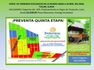 VENTA  DE TERRENOS ECOLOGICOS EN LA RIVIERA MAYA A 20 MIN. DEL MAR, TULUM, Q.ROO