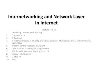 Internetworking and Network Layer in Internet
