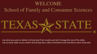 WELCOME School of Family and Consumer Sciences
