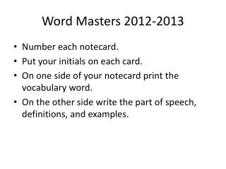 Word Masters 2012-2013