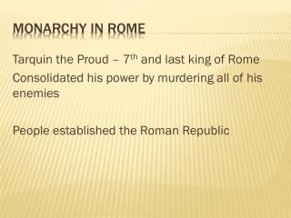 Monarchy in Rome