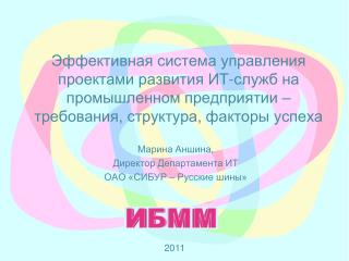 Марина Аншина, Директор Департамента ИТ ОАО «СИБУР  –  Русские шины»