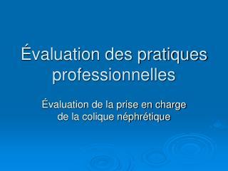 valuation des pratiques professionnelles
