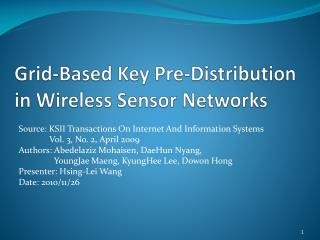Grid-Based Key Pre-Distribution in Wireless Sensor Networks