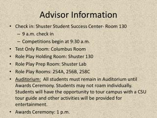 Advisor Information