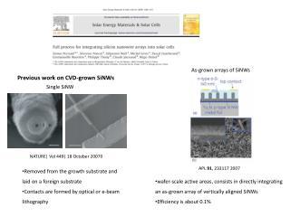 Previous work  on CVD-grown  SiNWs
