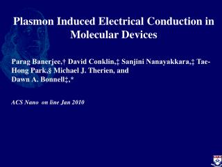 Plasmon Induced Electrical Conduction in Molecular Devices