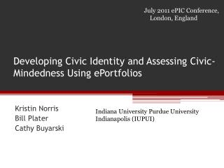Developing Civic Identity and Assessing Civic-Mindedness Using ePortfolios