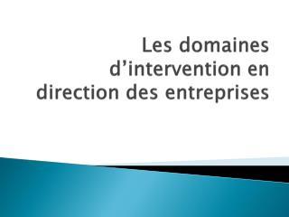 Les domaines d'intervention en direction des  entreprises