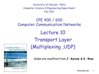 Lecture  10 Transport Layer  (Multiplexing ,UDP)