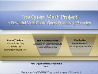The Query Mesh Project:  A Powerful Multi-Route Query Processing Paradigm