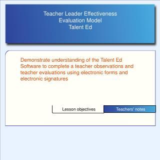 Teacher Leader Effectiveness  Evaluation Model Talent Ed