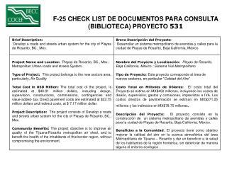 F-25 CHECK LIST DE DOCUMENTOS PARA CONSULTA  (BIBLIOTECA) PROYECTO  531