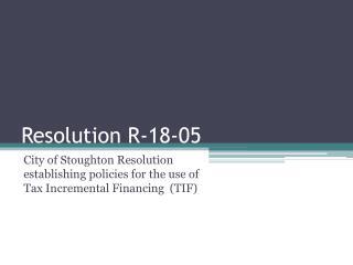 Resolution R-18-05