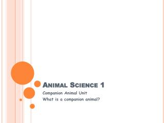 Animal Science 1
