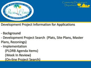 City of Palm Coast Online Development Project Search