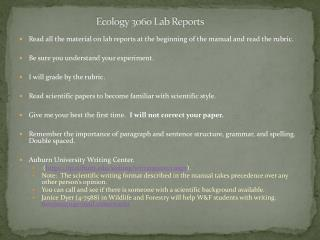 Ecology 3060 Lab Reports