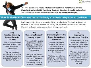PEAK PERFORMANCE : Where the Extraordinary is Delivered Irrespective of Conditions