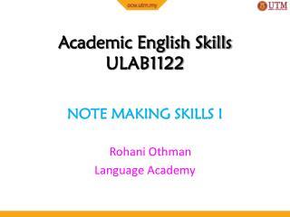 Academic English Skills ULAB1122