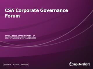 CSA Corporate Governance Forum