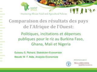 Comparaison  des  résultats  des pays de  l'Afrique  de  l'Ouest :