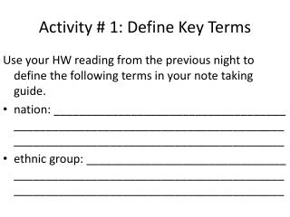 Activity # 1: Define Key Terms