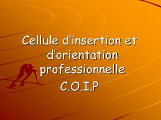 Cellule d'insertion et d'orientation professionnelle  C.O.I.P
