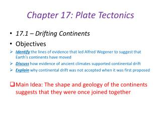Chapter 17: Plate Tectonics