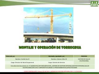 MONTAJE Y OPERACIÓN DE TORREGRUA