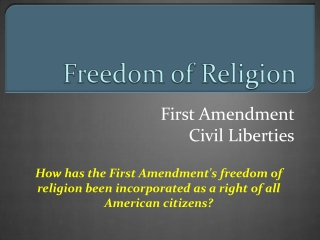 Religion: The Free Exercise Clause   Employment Div. v. Smith