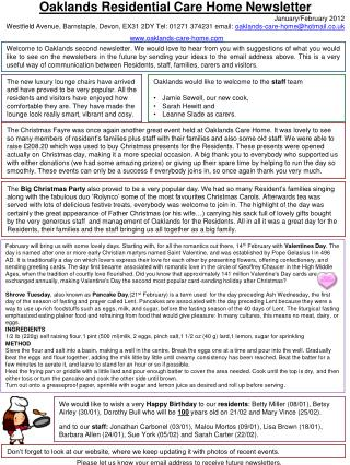 Oaklands Residential Care Home Newsletter January/February 2012