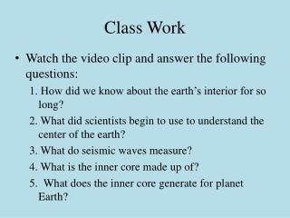 Class Work