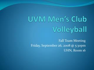 UVM Men's Club Volleyball