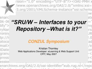 SRUW Interfaces to your Repository