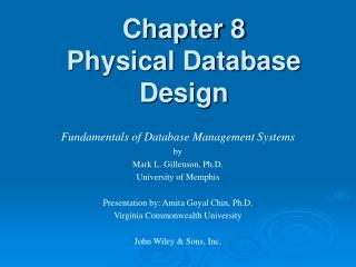 Chapter 8 Physical Database Design