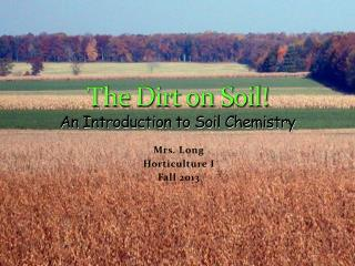 The Dirt on Soil! An Introduction to Soil Chemistry