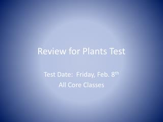 Review for Plants Test