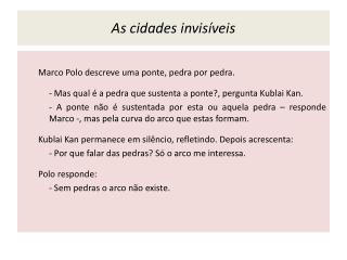 As cidades invisíveis