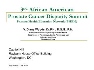 3nd African American   Prostate Cancer Disparity Summit Prostate Health Education Network PHEN