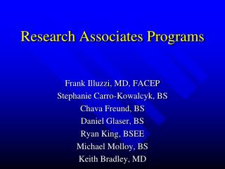 Research Associates Programs
