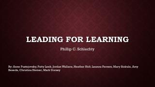Leading for Learning