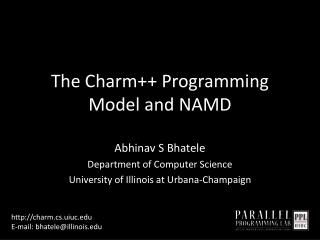 The Charm++ Programming Model and NAMD