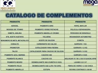 CATALOGO DE  COMPLEMENTOS