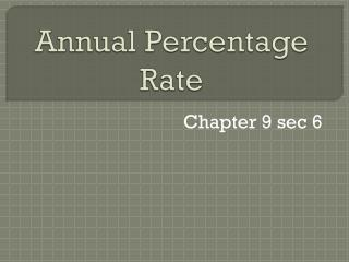 Annual Percentage Rate