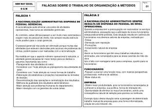FALÁCIA 1 A RACIONALIZAÇÃO ADMINISTRATIVA DISPENSA DE PESSOAL GERENCIAL