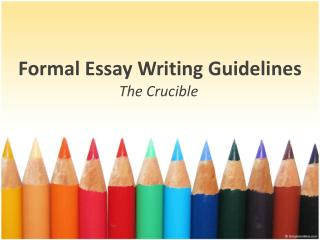 Formal Essay Writing Guidelines