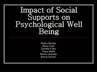 Impact of Social Supports on Psychological Well Being